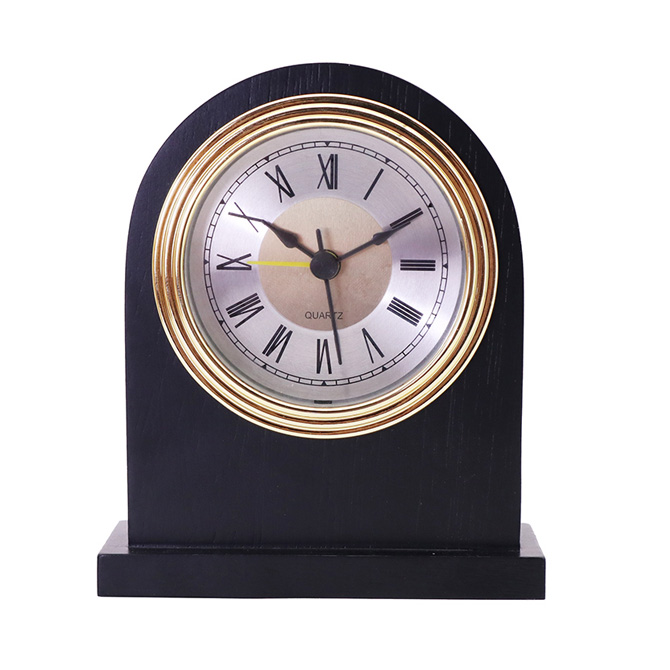 Gold Frame Silver Bottom  Black Roman Aluminum Clock Face Black Solid Wood Alarm Clock