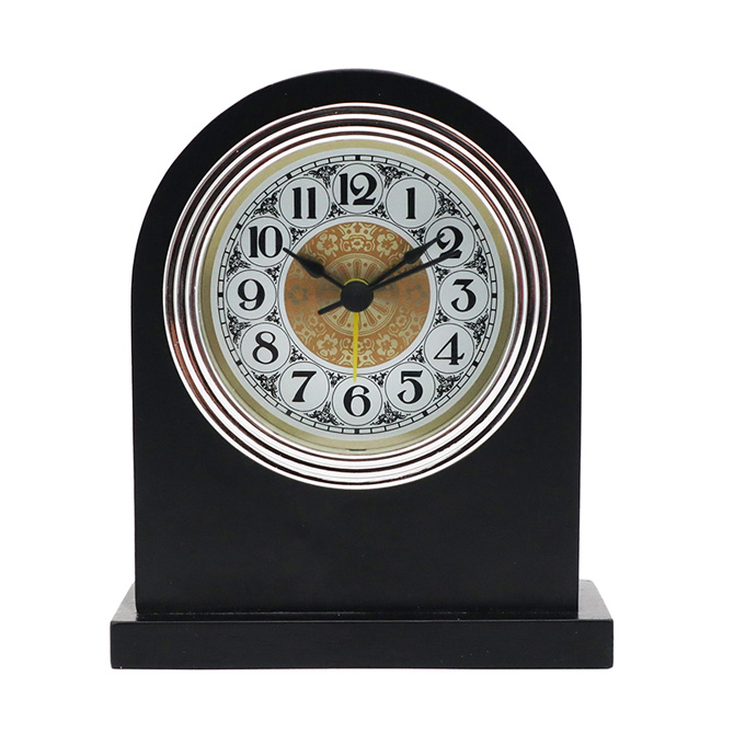 Silver Frame White Bottom Gold Flower Black Arab Aluminum Clock Face  Black Solid Wood Alarm Clock