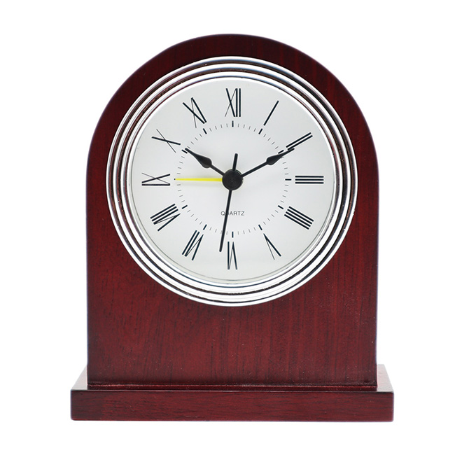 Silver Frame White Bottom  Black Roman Aluminum Clock Face Claret-Red Solid Wood Alarm Clock
