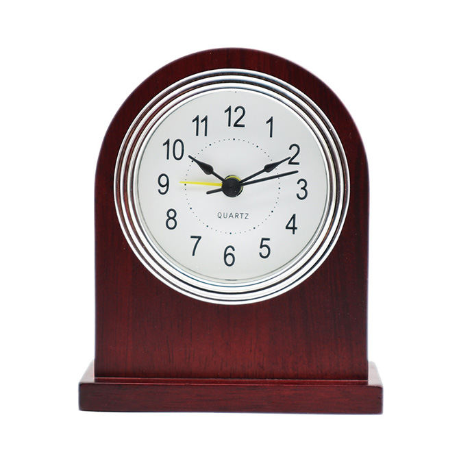 Silver Frame White Bottom Black Arabic PVC Clock Face Claret-Red Solid Wood Alarm Clock