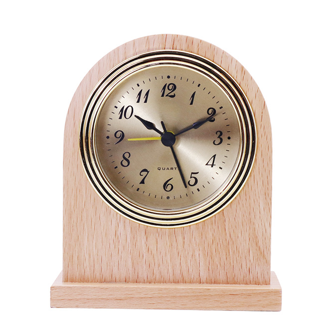 Gold Frame Gold Bottom Black Arabic Aluminum Clock Face Natural Wood Color Solid Wood Alarm Clock